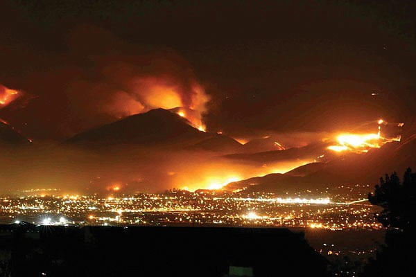One of the 2007 wildfires (downtown San Diego in foreground)