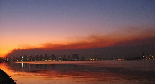 Downtown San Diego skyline during the 2007 wildfires