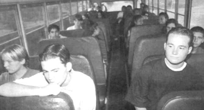 "Fallbrook High students on the bus. ""When you're steering a bus, you're steering the back."" - Image by Sandy Huffaker, Jr."