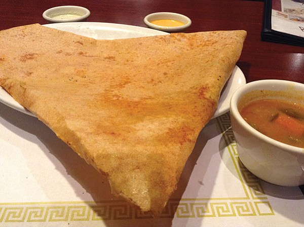 My dosa isn't a scroll but triangular, like a giant sambussa