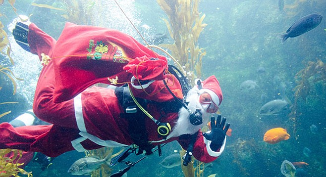 Thursday, December 1: Scuba Santa swims San Diego