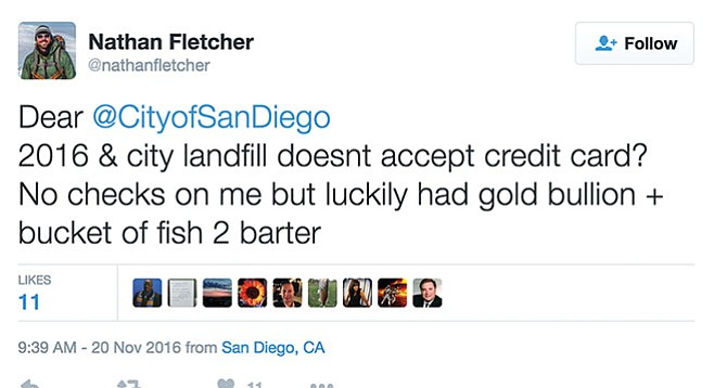 Nathan Fletcher tweets gripe about landfill not accepting credit cards