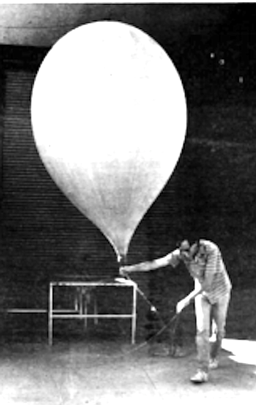 Balloon being walked over to launch site
