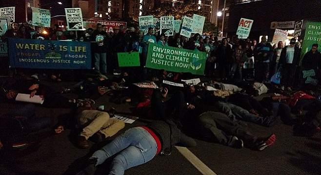 At the die-in on Front Street