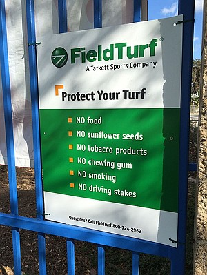Lundeen said the only signage she's seen near artificial fields have had to do with protecting the turf's warranty.