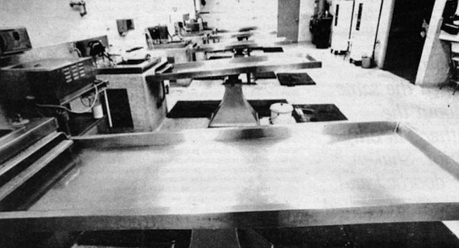 Bodies arriving are weighed and measured before they are put on one of five stainless steel tables.