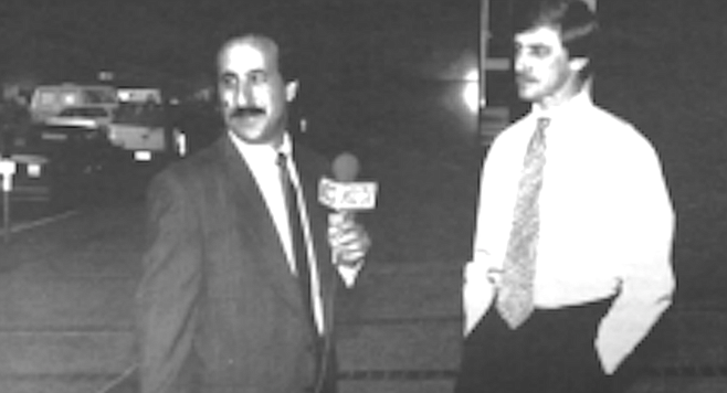 Former Times media writer, now Channel 51 reporter Kevin Brass interviews a Times reporter the day of the announcement.