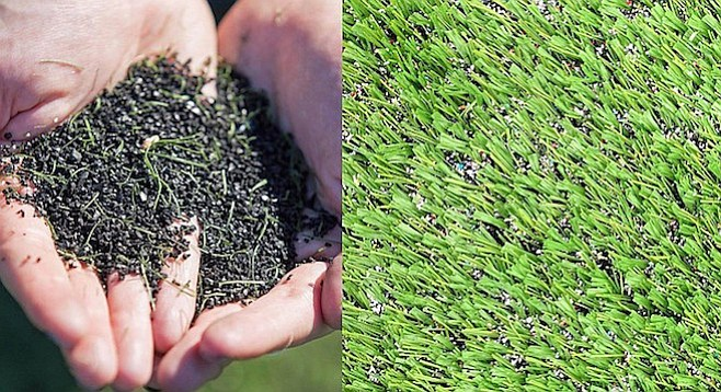 """Tire crumb"" fills the areas between blades of artificial turf"