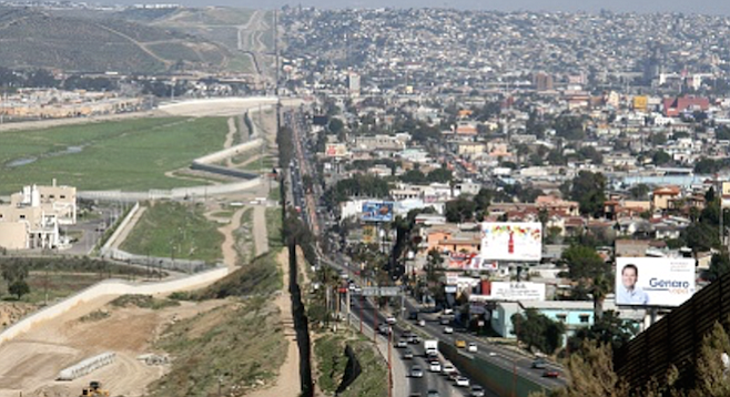 The view east along the U.S.-Mexico border