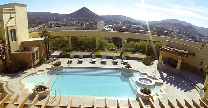 Poolside at the Santuario Diegueño hotel in Tecate