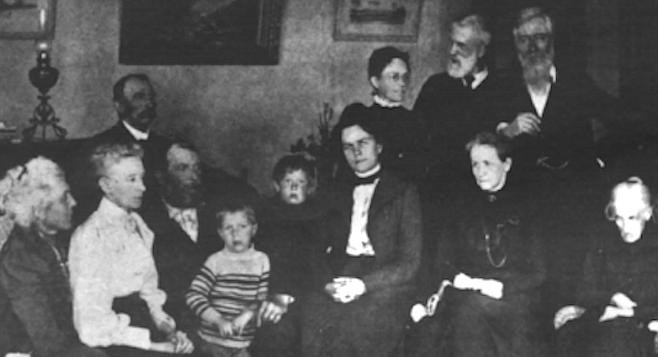 Family portrait, circa 1915. Front row: E. Virginia Scripps, Ellen Browning Scripps, E.W. Scripps, sons Robert and John, Nackie Scripps (Mrs. E.W. Scripps), Mrs. James Scripps, E.W.'s mother, Judith Osborne. Back row: Fred Scripps, Mrs. Willam Scripps, William Scripps, James E. Scripps.
