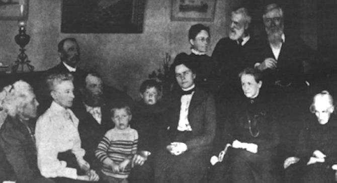 Family portrait, circa 1915. Front row: E. Virginia Scripps, Ellen Browning Scripps, E.W. Scripps, sons Robert and John, Nackie Scripps (Mrs. E.W. Scripps), Mrs. James Scripps, E.W.'s mother, Judith Osborne. Back row: Fred Scripps, Mrs. Willam Scripps, William Scripps, James E. Scripps. - Image by Courtesy of Charles E. Scripps