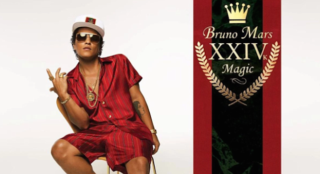 Never delving deeper than obsession with sexual persuasion or luxury items, Bruno Mars comes off as a shallow, misogynistic player.