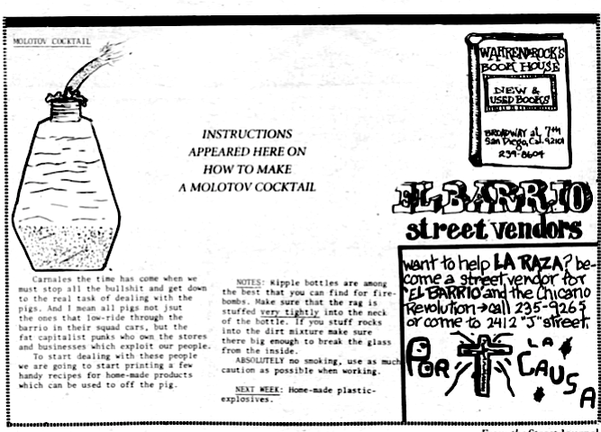 One of the El Barrio pages of the July 3 issue printed directions for constructing a Molotov cocktail.