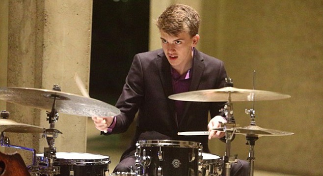 Jazz drummer Johnny Steele (16) stands a chance at a $10,000 check and a chance to study with Wynton Marsalis.