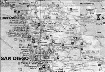 """San Diego recreation map. """"Most of the maps in America are not readable."""""""
