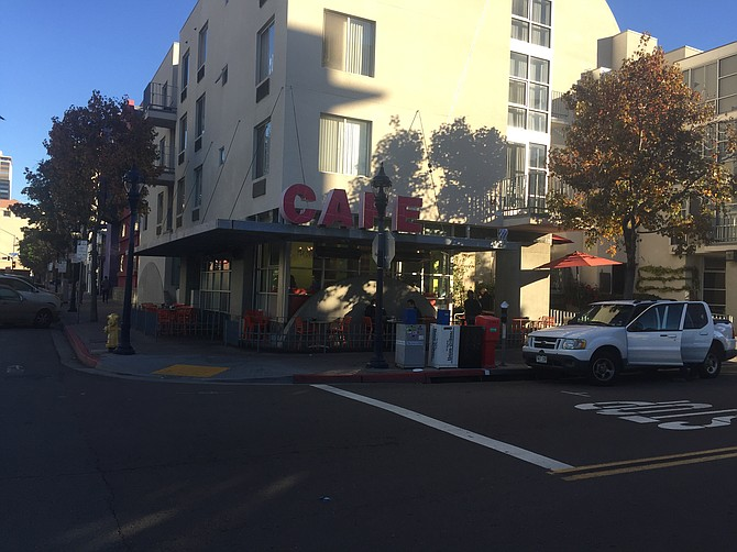 An early-morning shot of Cafe 222 in the Gaslamp