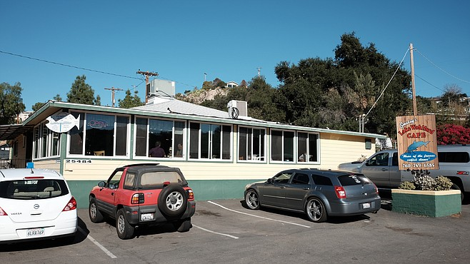 This rural diner sits opposite Lake Wohlford in northeast Escondido.