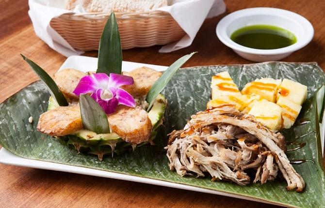 Hawaiian Kahlua pork with coconut rice, plantains, and Maui pineapple