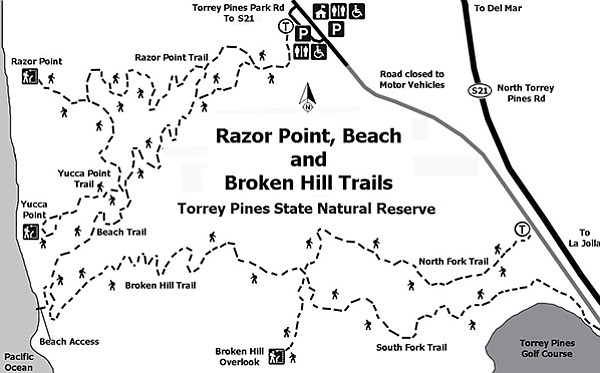 Map for Razor Point, Beach, and Broken Hill Trails