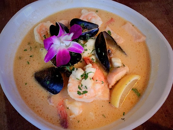 The not-so-secret ingredient in the Seafood Bouillabaisse is mashed potatoes.