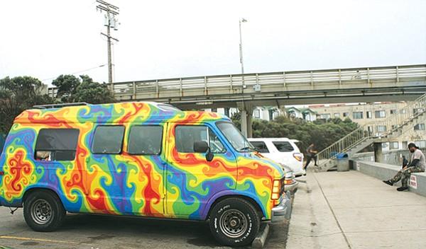 The rainbow van, parked just north of the Ocean Beach Pier.