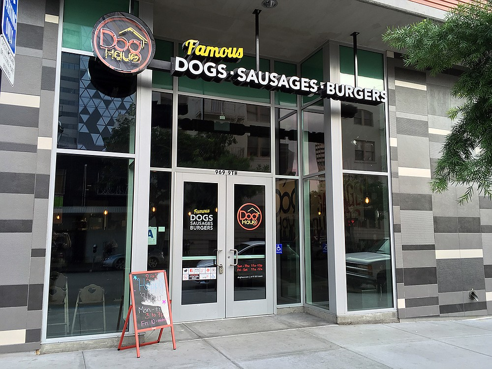You may build your own dog, beginning with a hot dog, bacon-wrapped hot dog, or housemade sausage.