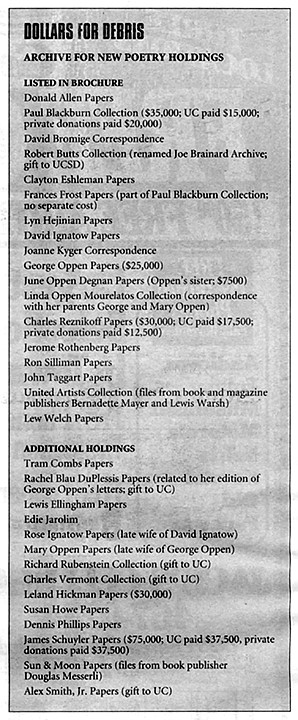 """Archive holdings list.  """"For us as writers it's extremely valuable, because otherwise you lose track of things. Who's going to collect old stapled magazines?"""""""