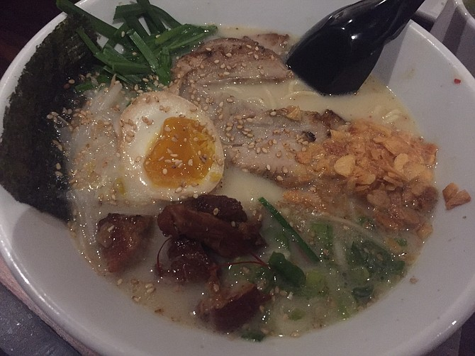 Tajima's original Tonkotsu soup has a broth made from pork. You can get it with chicken or pork chasu.