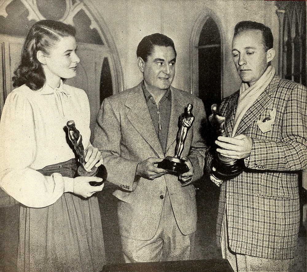 Oscar winners: Ingrid Bergman with her award for Gaslight and Leo McCarey and Bing Crosby show off their trophies for Going My Way.