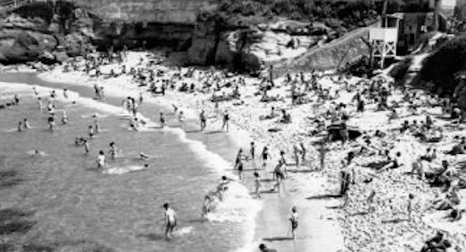 La Jolla Cove, 1952. In 1950 the town's population had doubled to 10,108. - Image by San Diego Historical Society