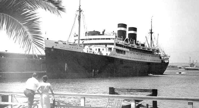 """Passenger liner, Embarcadero, 1940s. """"Miller had an office at the waterfront, where he hung out."""""""