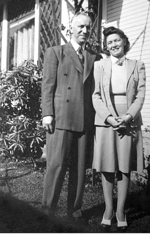 Kuhlken's mother and father, 1944.  Six months after Kuhlken's father died, his mother, a schoolteacher, contracted spinal meningitis.