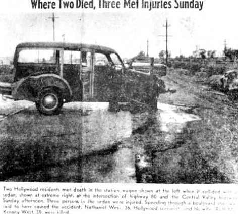 Story published in Imperial Valley News. The small massing crowd staring at the wreck probably has not read Nathanael West, but they are looking at him and his wife.