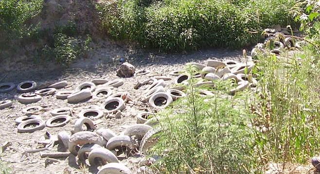 Tires in Tijuana River Valley