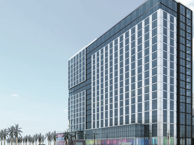 Construction of a 90 percent Chinese-owned hotel is proceeding at the corner of Broadway and Harbor Drive.