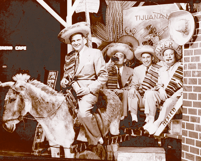 Frank Bompensiero (right) with Kansas City friends, Tijuana, 1950. Bompensiero began to drive back and forth to Tijuana to entertain guests from Kansas City and St. Louis and Sicily.