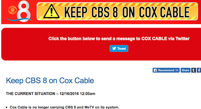 """Cox Cable is no longer carrying CBS 8""? Or CBS 8 isn't allowing retransmission until their demand is met?"