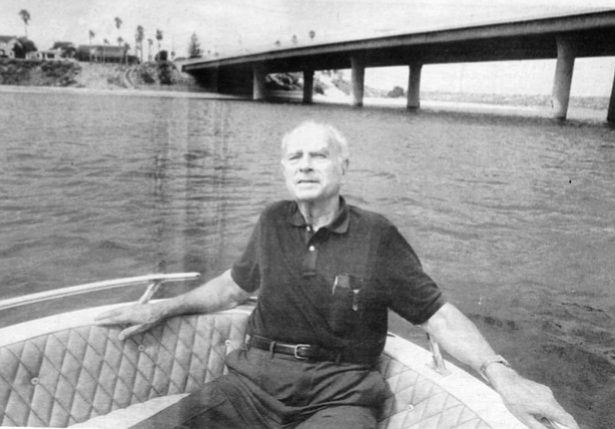 Les Earnest with Ingraham Street Bridge and Crown Point in the background. When Millay and his partners won the Sea World lease in 1961, their original architectural plans were horrible, says Earnest.