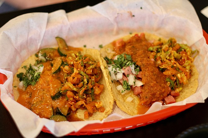 A vegan taco (squash in orange salsa), and the favorite of the day, the marlin