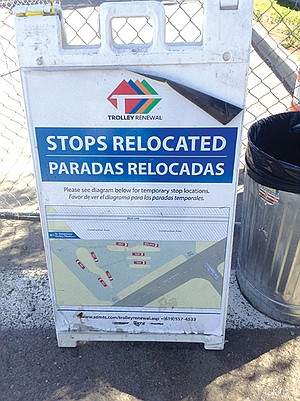 """Relocadas is not a word. in proper Spanish, it would mean """"the bus stops are extra crazy."""""""