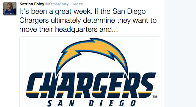 Costa Mesa mayor Katrina Foley looks forward to the Chargers' possible move to Orange County
