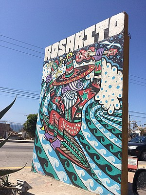Noticing some local artwork along the roadside in Rosarito.