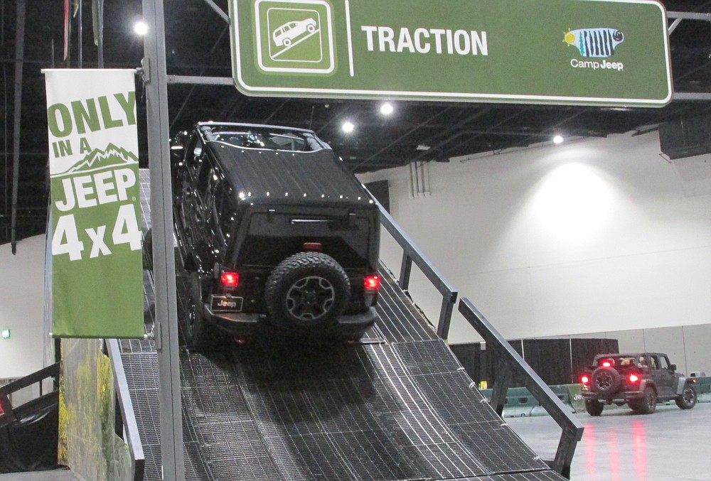 Over 100 people waited for a ride up Jeep's 35-degree ramp.