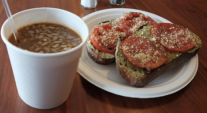 Lentil soup and tomato-pesto toast — so organic, so vegan