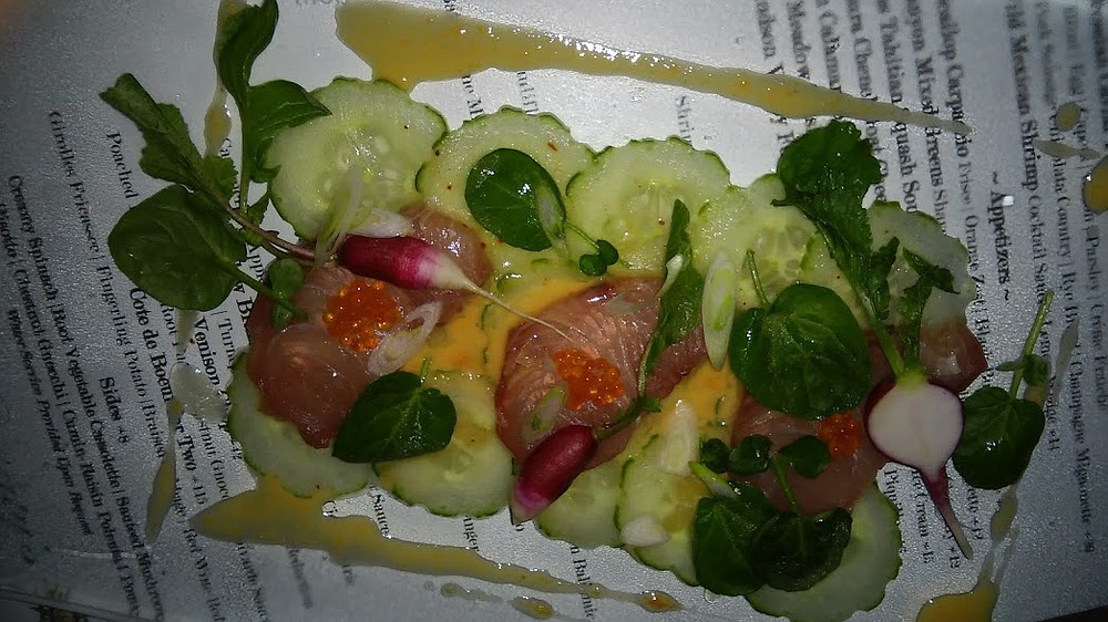 Yellow Tail Carpaccio, thin slices of yellowtail with cucumber, watercress, and uni-yuzu sauce. Each bite was smooth, with just a tiny kick from the sauce.
