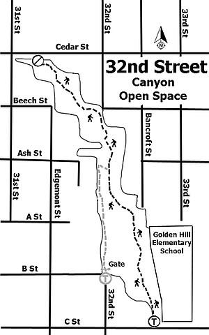 32nd Street Canyon trail map