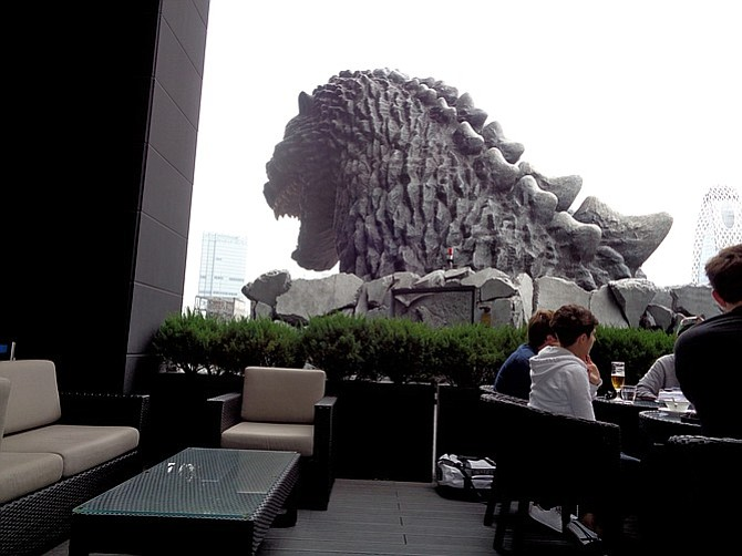 A view of Godzilla from the Hotel Gracery cafe in Shinjuku.