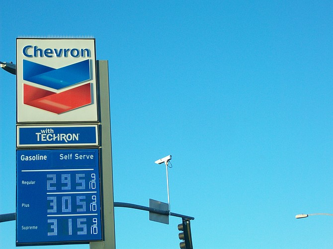 Chevron's colorful sign along Midway Drive.