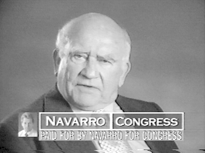Ed Asner on Navarro campaign commercial. Asner seemed a pale shadow of his former Lou Grant self. Today, he is almost as round as he is tall. He moves with a painful slowness.